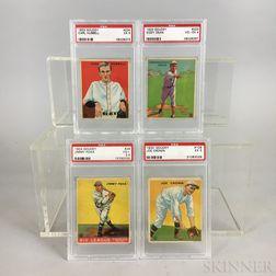 Four 1933 Goudey Baseball Cards