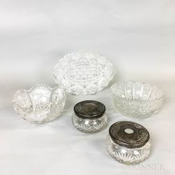 Five Colorless Cut Glass Items