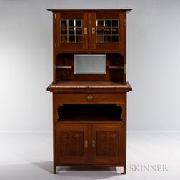 English Arts and Crafts Side Cabinet with Leaded Glass Doors