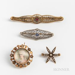 Four Vintage Gold Brooches