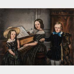 American School, 19th Century      Three Children at a Piano