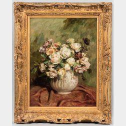 Giuseppina Fagioli Locatelli (Italian, 19th/20th Century)      Roses in a Low White Vase.