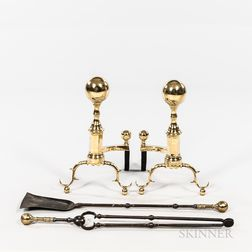 Pair of Brass and Iron Ball-top Andirons with Matching Tools