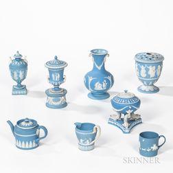 Eight Wedgwood Light Blue Jasper Dip Items