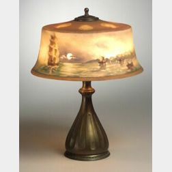 Pairpoint New Bedford Harbor Reverse-Painted Table Lamp