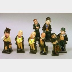 Eight Small Royal Doulton Porcelain Dickens Figures