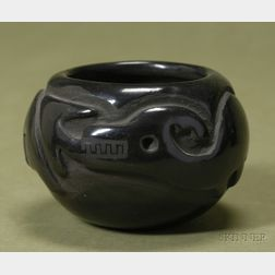 Southwest Carved Polished Blackware Pottery Bowl