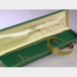 Ladys 14kt Gold Glycine Bracelet Wristwatch.