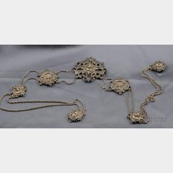 Art Nouveau Sterling Silver Waist Ornament, Wm. B. Kerr & Co.