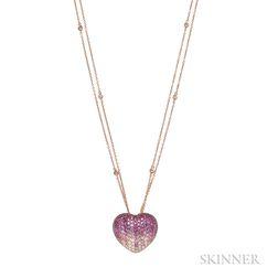 18kt Rose Gold Gem-set Heart Pendant
