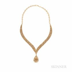 22kt Gold and Rose-cut Diamond Necklace