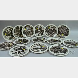 Fourteen Wedgwood Claire Leighton Ceramic Plates.     Estimate $150-200