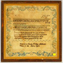 Framed 1822 Cornelia B. Clark Needlework Sampler