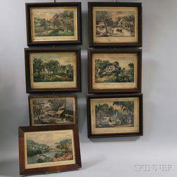 Seven Framed Currier & Ives Lithographs