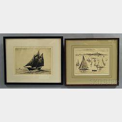 Reynolds Beal (American, 1866-1951)      Two Marine Etchings:  Yachting-Marblehead Harbor