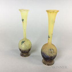 Pair of Daum Cameo Glass Bud Vases