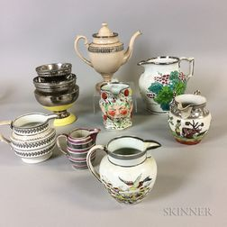 Ten Silver Lustre Ceramic Tableware Items