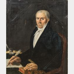 American School, 19th Century       Portrait of a Man with a Quill