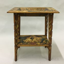 Folk Art Scratch-carved and Polychrome Painted Deep Dish Table