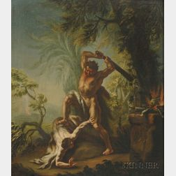 French School, 17th Century Style      Cain Killing Abel