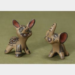 Two Southwest Painted Pottery Animals
