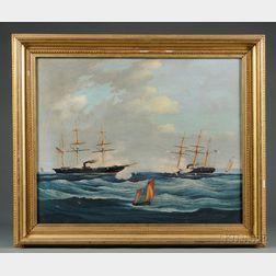 American School, 19th Century      Action at Sea Between U.S.S. Kearsarge   and C.S.S. Alabama.