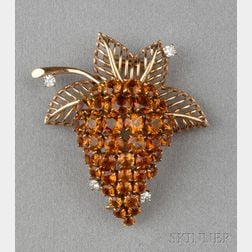 18kt Gold, Citrine, and Diamond Brooch