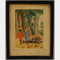 Raoul Dupoux (Haitian, b. 1906)      Figures by a Fountain.