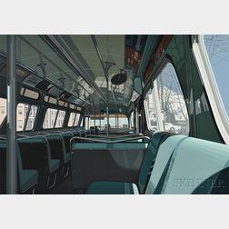 Richard Estes (American, b. 1932)      Bus Interior