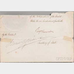Harrison, Benjamin (1833-1901) Partial Document Signed, post-1890.