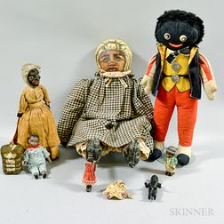 Group of Black Dolls and Carved and Painted Figures.     Estimate $200-250