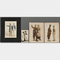 Four Photos of Characters in Blackface.     Estimate $150-250