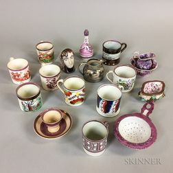Eighteen Small Lustre Ceramic Items