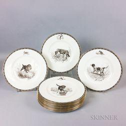 Set of Twelve Wedgwood Porcelain American Sporting Dog Plates