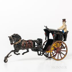 Cast Iron Horse-drawn Cab with Driver Toy