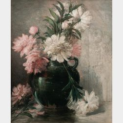 John Ferguson Weir (American, 1841-1926)      Still Life with Pink and White Peonies