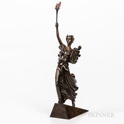 """Romain De Tirtoff, called Erté (Russian, 1892-1990) """"Liberty"""" Bronze Sculpture."""
