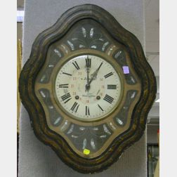 French Grain Painted and Mother-of-Pearl Inlaid Wall Clock