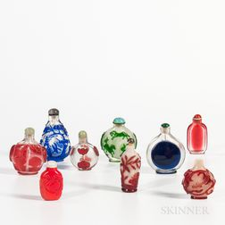 Nine Peking Glass Snuff Bottles