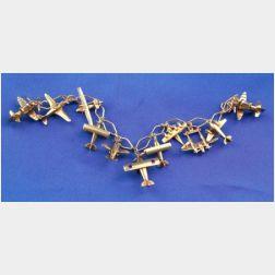 14kt Gold Airplane Charm Bracelet