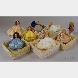 Six Boxed Painted Bisque Nancy Ann Story Book Dolls and Two Others
