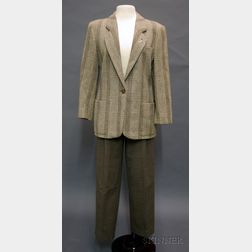Lady's Giorgio Armani Two-piece Brown and Taupe Wool Pants Suit