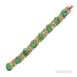 18kt Gold and Jade Bracelet
