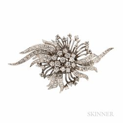 14kt White Gold and Diamond Flower Brooch