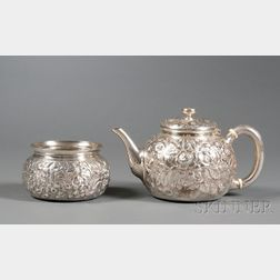 Whiting Manufacturing Co. Sterling Repousse Teapot and Open Sugar Bowl