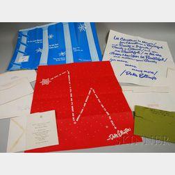 Six Duke Ellington Christmas Cards, a Wedding Invitation, and a Johnny Hodges Christmas Card.