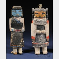 Two Polychrome Carved Wood Kachinas