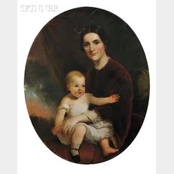 School of Thomas Sully (American, 1783-1872)      Mother and Child.