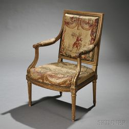 Louis XVI-style Giltwood Fauteuil