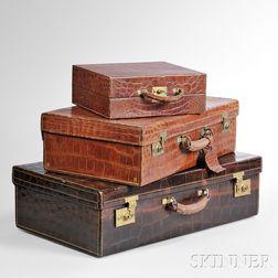 Three-piece Set of Asprey Alligator Luggage